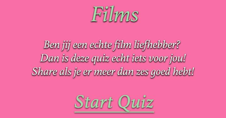 Ben jij een echte film liefhebber? Dan is deze quiz echt iets voor jou! Share als je er meer dan zes goed hebt!